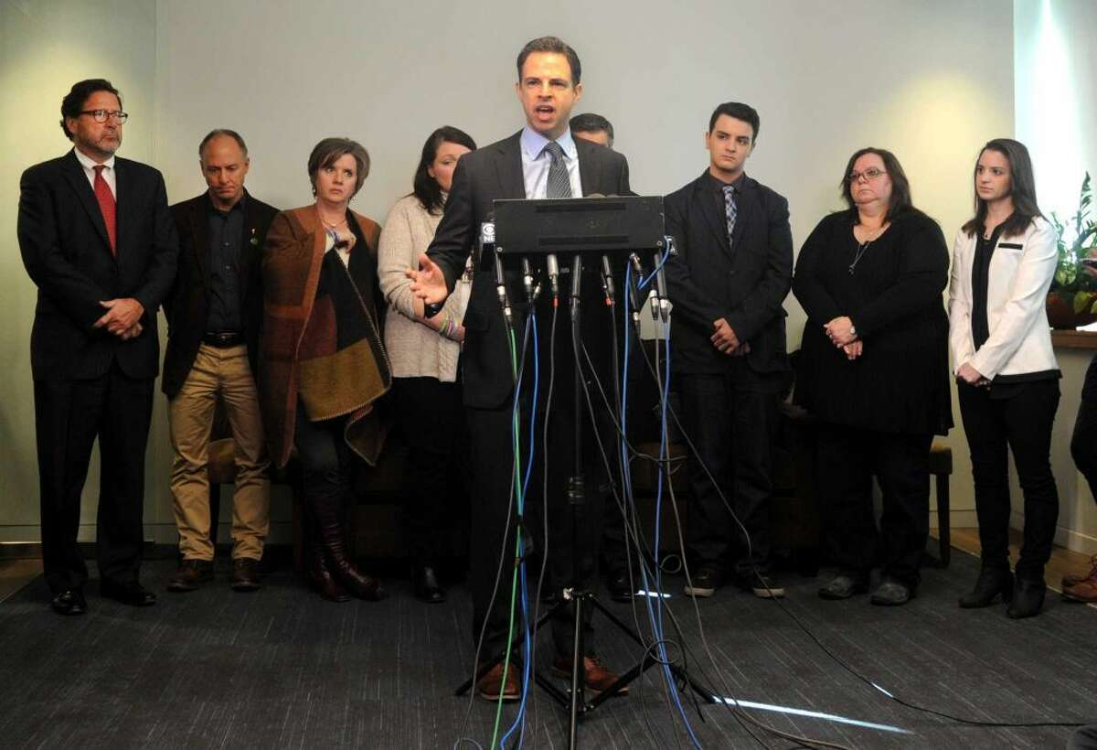 Attorney Joshua Koskoff and the Sandy Hook families that are suing the gun maker for providing the AR-15-type Bushmaster held a press conference at Koskoff, Koskoff & Bieder in Bridgeport, Conn. on Monday, Feb. 22, 2016. A state Superior Court judge in Bridgeport will hear final arguments from attorneys representing the 10 families and Bushmaster, and then decide whether the lawsuit will be dismissed or whether it will be allowed to progress toward a jury trial. (Cathy Zuraw / Hearst Connecticut Media)