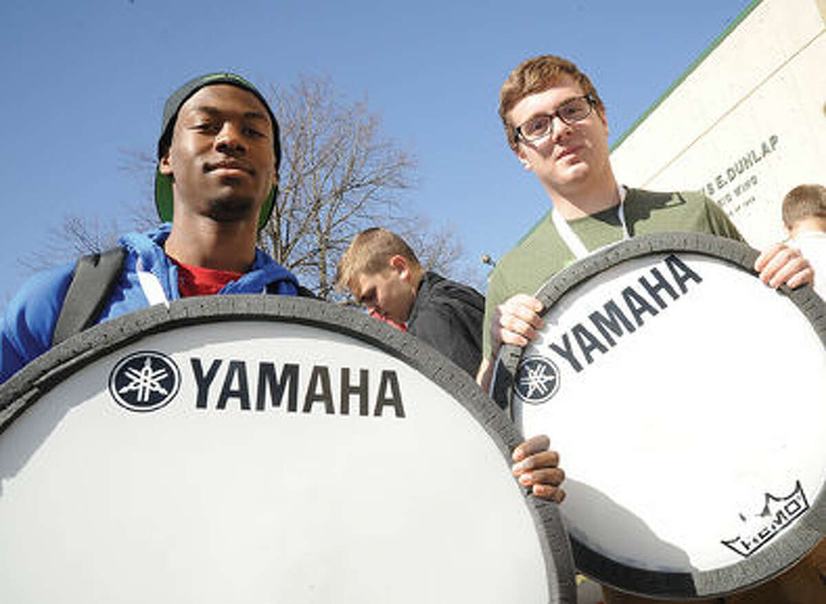 Nigeal McBride and Connor Prince with the Norwalk High School Winter Percussion Ensemble return to the school Sunday after the band won the bronze medal at the World Championships in Dayton Ohio. Hour photo/Matthew Vinci