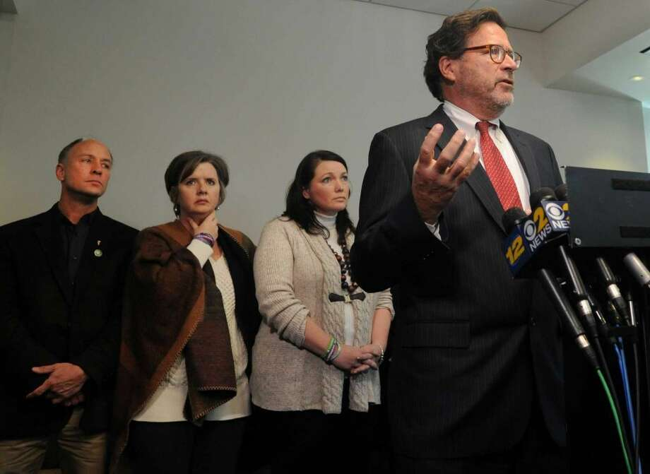 Bill Sherlach, husband of Mary Sherlach, a school psychologist killed at Sandy Hook Elementary School speaks at a press conference at Koskoff, Koskoff & Bieder in Bridgeport, Conn. on Monday, Feb. 22, 2016. A state Superior Court judge in Bridgeport will hear final arguments from attorneys representing the 10 families and Bushmaster, and then decide whether the lawsuit will be dismissed or whether it will be allowed to progress toward a jury trial. (Cathy Zuraw / Hearst Connecticut Media)