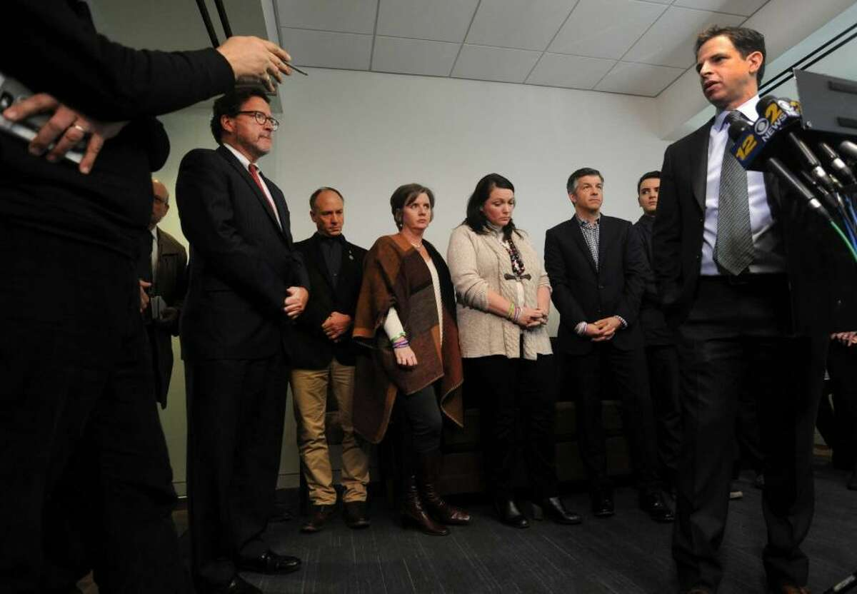 Attorney Joshua Koskoff, along with the Sandy Hook families that are suing Remington Arms for providing the AR-15-type Bushmaster, held a press conference at Koskoff, Koskoff & Bieder in Bridgeport on Monday. (Cathy Zuraw / Hearst Connecticut Media)