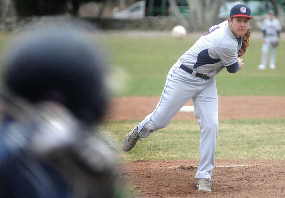 Greens Farms Academy starting pitcher vs. King, #9 Jake Berman. Hour photo/Matthew Vinci