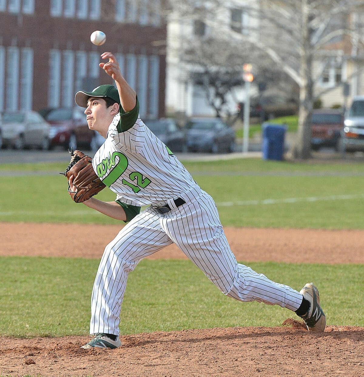 Norwalk's Max Berman pitches against Ridgefield on Monday. (Hour Photo/Alex von Kleydorff)