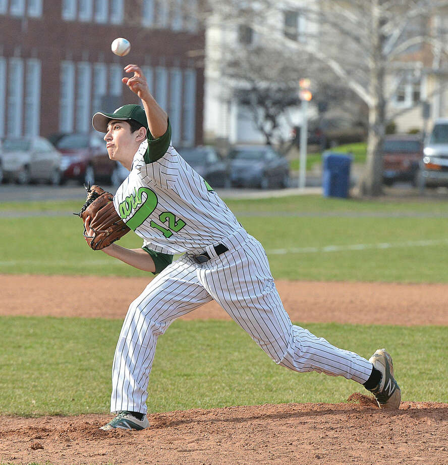 Norwalk's Max Berman pitches against Ridgefield on Monday. (Hour Photo/Alex von Kleydorff)