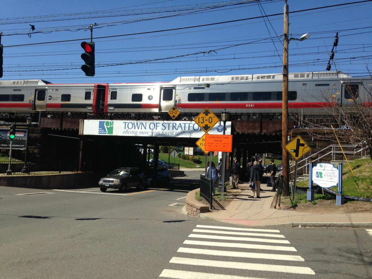 A Metro-North train is stopped in Stratford after a person was struck by a train at 12:09 p.m. on Friday, April 15, 2016. (Frank Julianio /Hearst Connecticut Media)