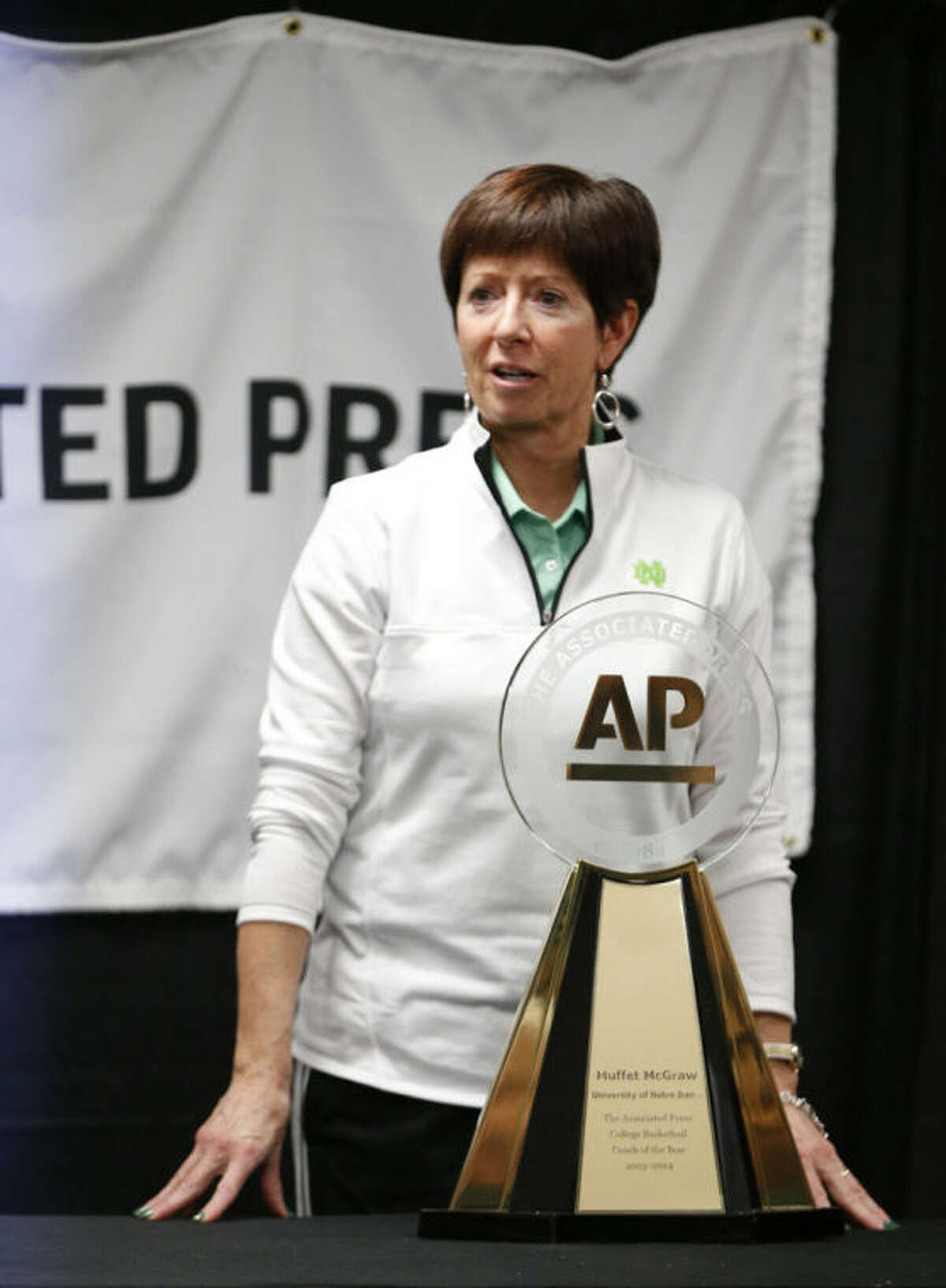 The Associated Press basketball coach of the year Notre Dame head coach Muffet McGraw speaks to the media after practice before the women's Final Four of the NCAA college basketball tournament, Saturday, April 5, 2014, in Nashville, Tenn. (AP Photo/Mark Humphrey)