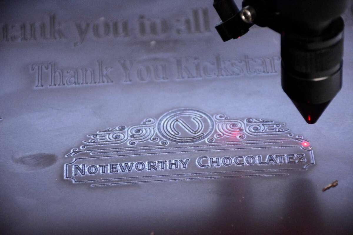 A sample of what Noteworthy Chocolates, a new Danbury business, can create out of their chocolate with a laser. Thursday April 14,2016.