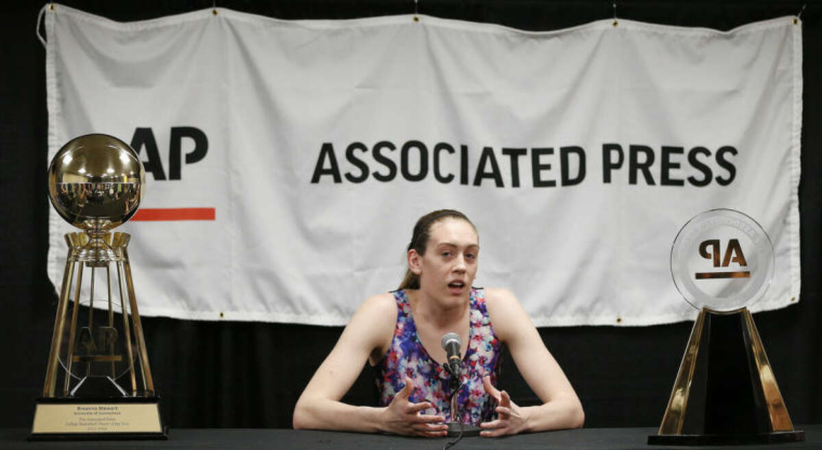 The Associated Press basketball player of the year, Connecticut's Breanna Stewart, speaks to the media after practice before the women's Final Four of the NCAA college basketball tournament, Saturday, April 5, 2014, in Nashville, Tenn. (AP Photo/Mark Humphrey)