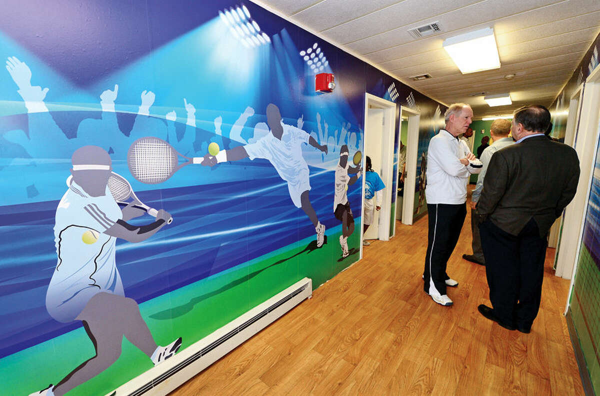 Hour photo / Erik Trautmann The new Norwalk Grass Roots Tennis headquarters and youth center at the old Nathaniel Ely School at 11 Ingalls Ave. GE Capital volunteers spent three days renovating the space ready for grand opening.