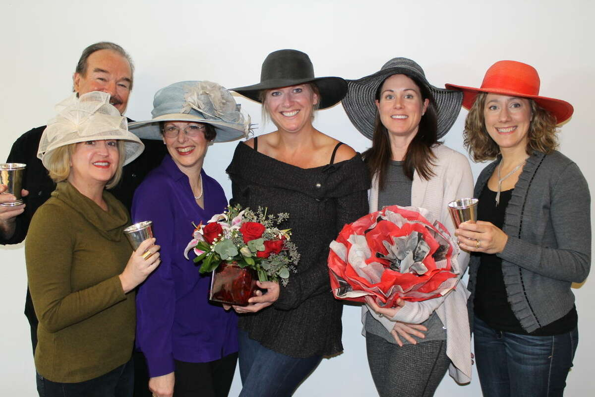 Organizers model hats for Wilton Library's Beyond Words - Derby Style benefit taking place Friday, May 1, from 7-11 p.m. on the eve of the Kentucky Derby. The fundraiser features southern flair cuisine by AMG Catering, and live and silent auctions all to support the library's programs, services and materials. Tickets may be purchased at wiltonlibrary.org, by calling (203) 762-3950, ext. 239 or visiting the library. Pictured from left to right: Gary Battaglia, Jen Allbee, Robin Roscillo, Callie Mellana, event co-chairwoman, Kathryn Groves, Michele Klink. Not pictured: Michele Ferguson Nichols, event co-chairwoman.