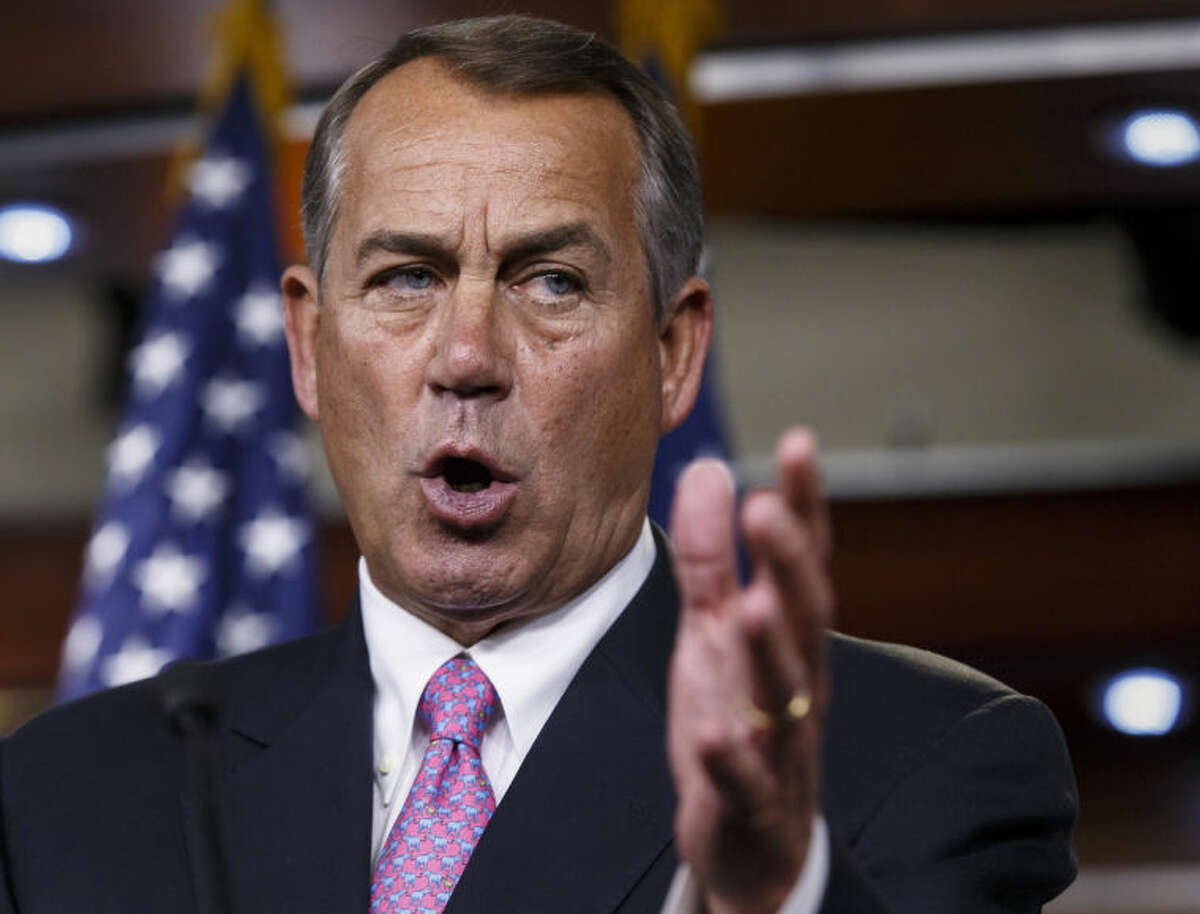 FILE - This March 26, 2014 file photo shows House Speaker John Boehner of Ohio speaking during a news conference on Capitol Hill in Washington. Boehner?'s primary races are often about as challenging as a tap-in putt. But, with three Republican opponents on the ballot May 6 and some outside money coming in aimed against him, Boehner?'s campaign has run two rounds of television ads amid other voter outreach efforts. (AP Photo/J. Scott Applewhite, File)