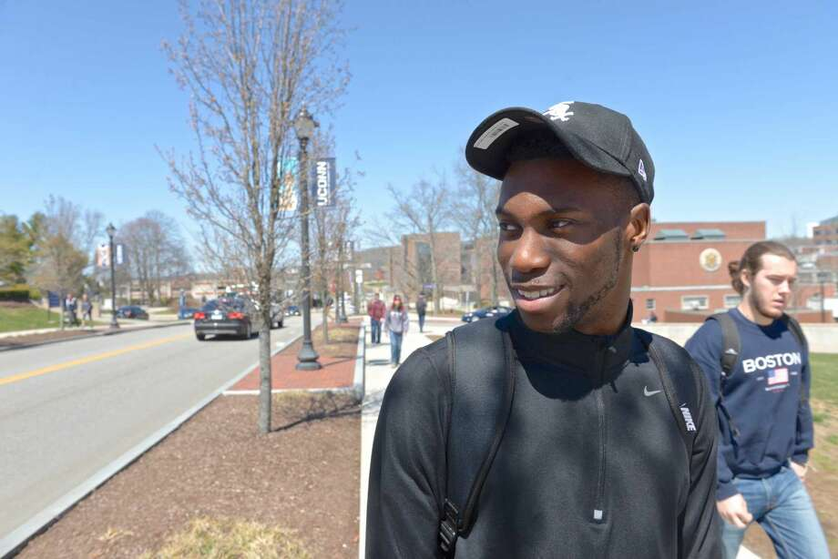 """New Jersey's Chinedu Amonu, a junior at the University of Connecticut in Storrs, talks about UConn's planned housing for black males at NextGen Hall, a housing community of more than 700 students participating in eight """"Learning Communities."""""""