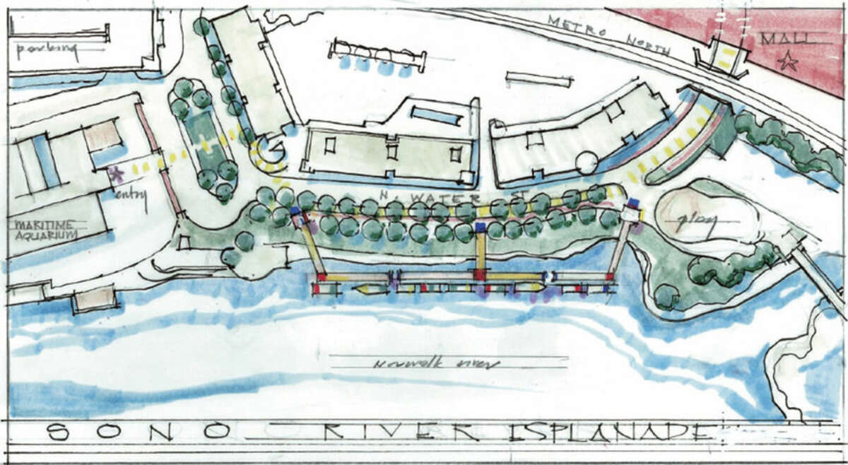 Above is an architect's rendering of what a SoNo River Esplanade would look like, according to a conceptual plan drawn up by two architects. The 400-foot dock structure would run along the edge of the Norwalk River near North Water Street.