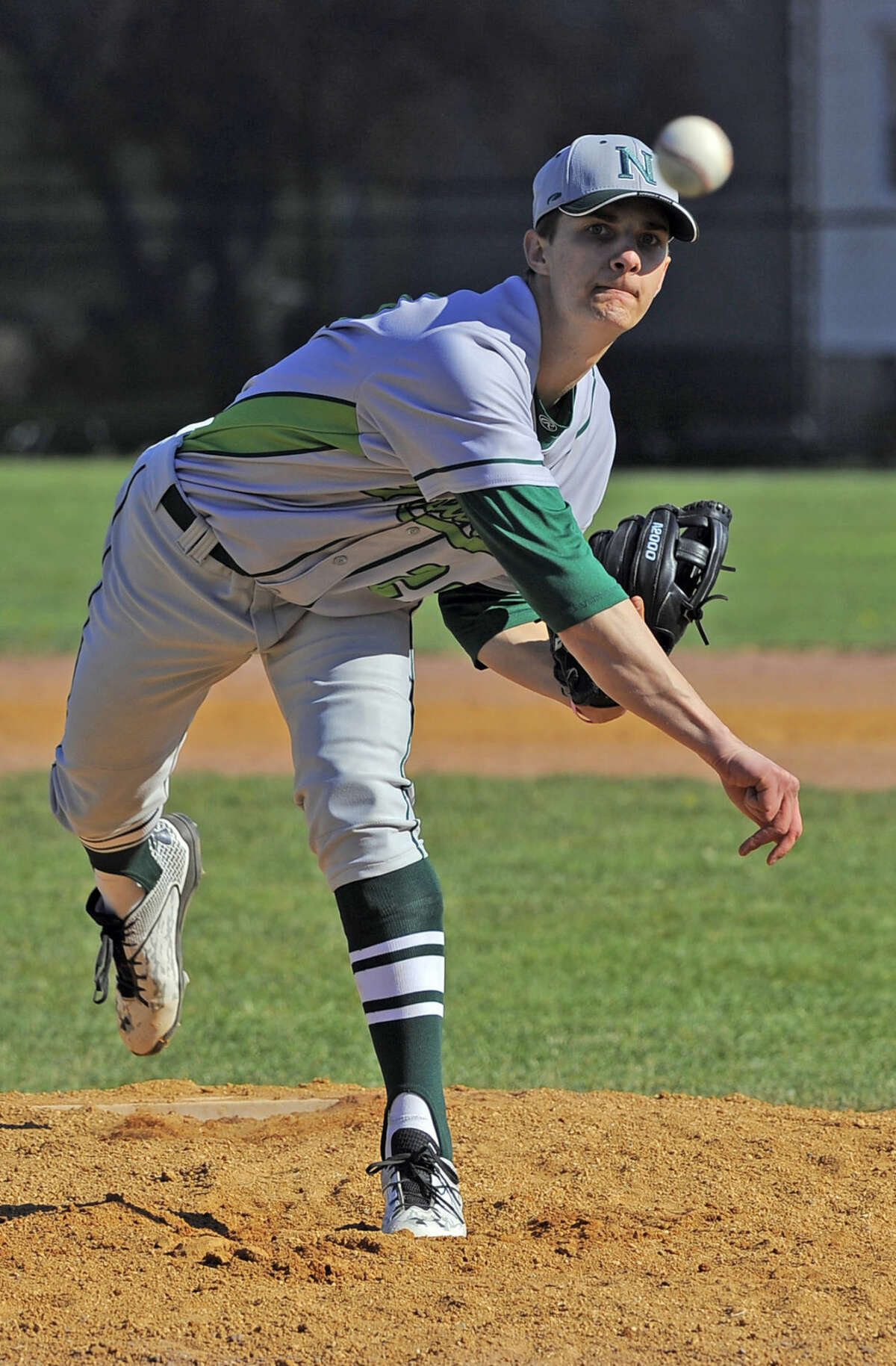 Norwalk pitcher Isaac Keehn delivers a throw to Stamford in the first inning of a FCIAC boys baseball game at Stamford High School on April 15, 2016. Norwalk defeated Stamford 8-7.