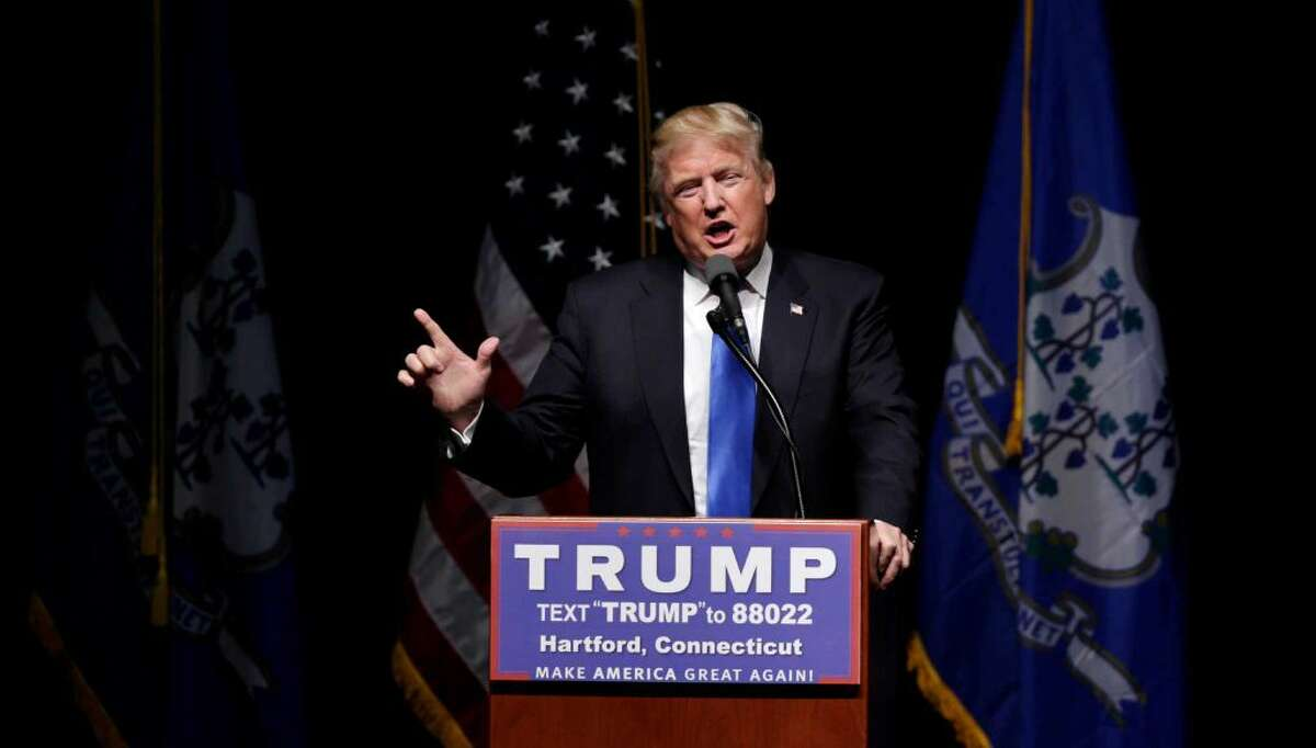 Republican presidential candidate Donald Trump during a campaign event in Hartford, Conn., Friday, April 15, 2016. (AP Photo/Charles Krupa)