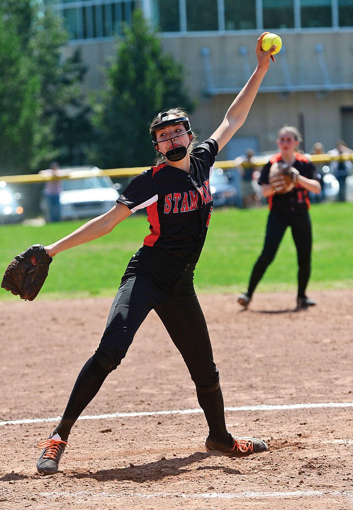 Hour photo / Erik Trautmann Stamford's pitcher Sara Staley throws during their softball game against Westhill High School Saturday.