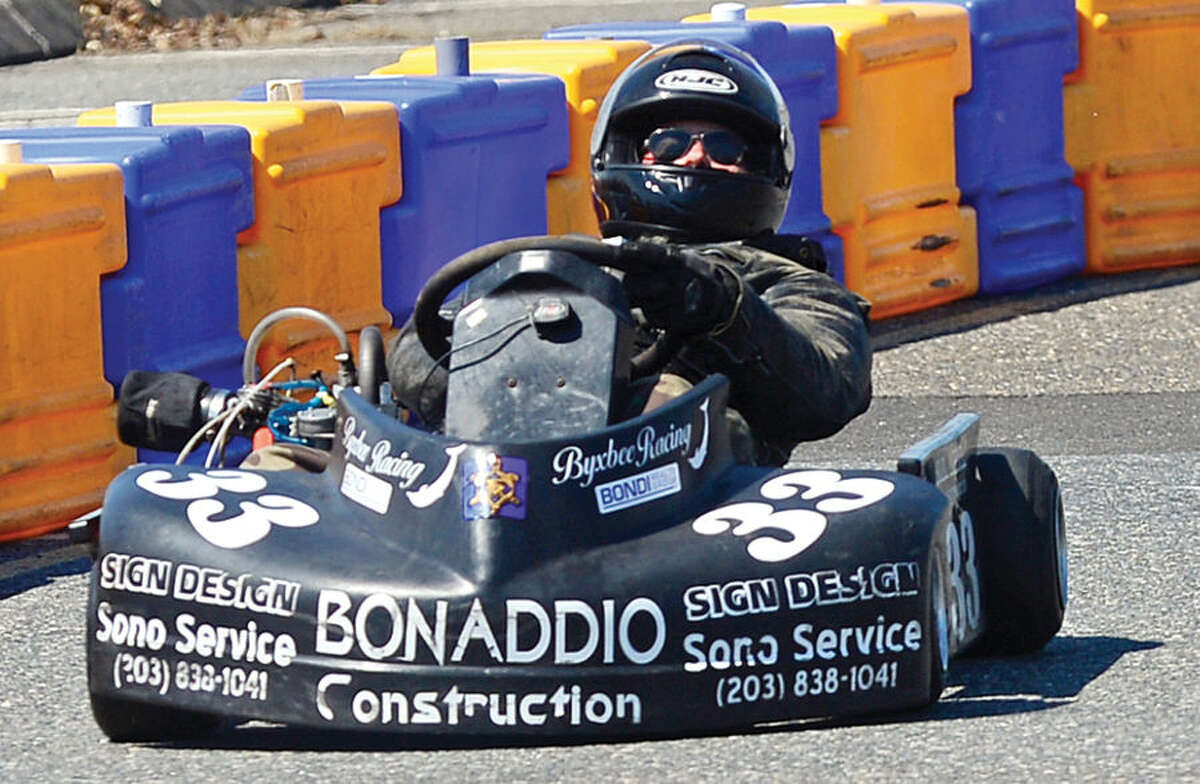 Hour photo / Erik Trautmann Bob Byxbee drives in the Shifter Modified Race during the Norwalk Karting Association 4th race of the season Saturday at Calf Pasture Beach.
