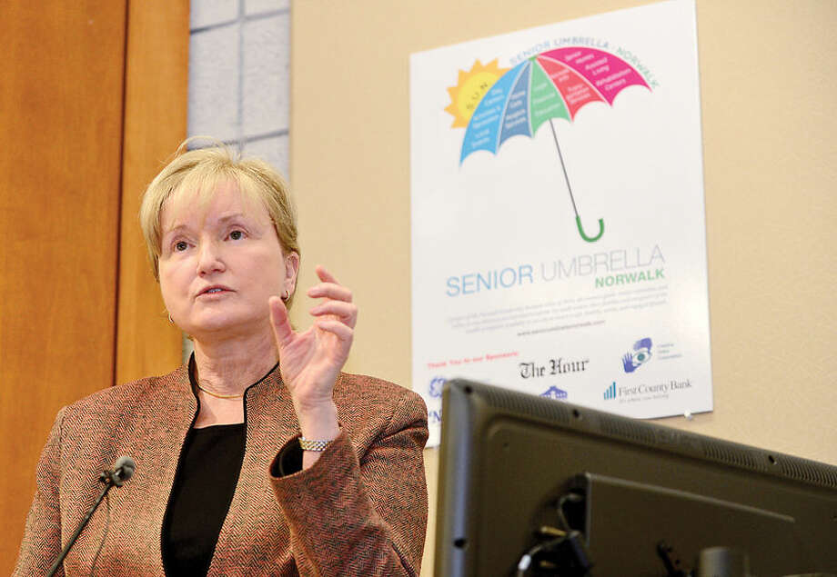 Hour photo / Erik Trautmann Keynote speaker, Julie Jason, gives her presentation during the Norwalk Leadershp Institute Senior Expo Project where over 25 tables werehosted by local non profit and for profit organizations that provide critical services to allow our Norwalk seniors.
