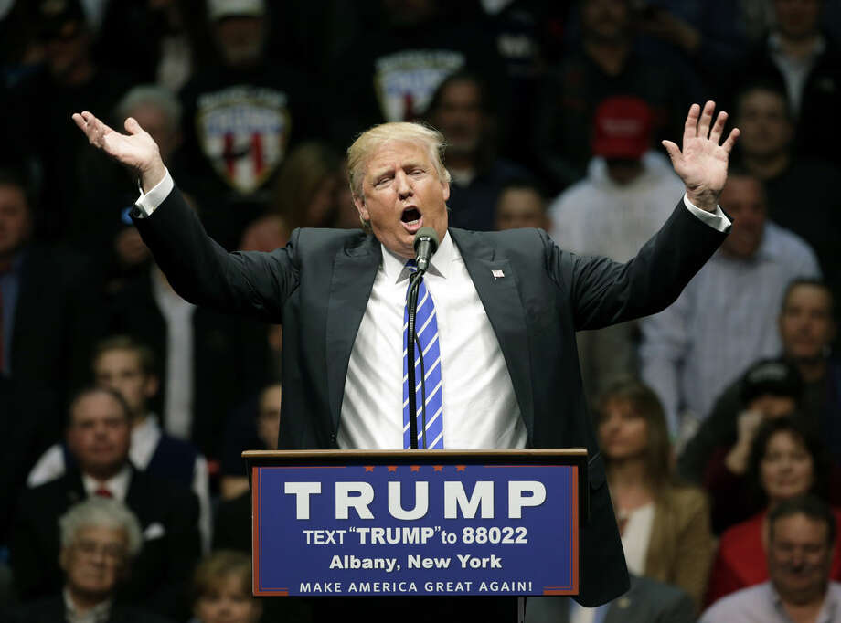Republican presidential candidate Donald Trump speaks during a rally at the Times Union Center on Monday, April 11, 2016, in Albany, N.Y. (AP Photo/Mike Groll)