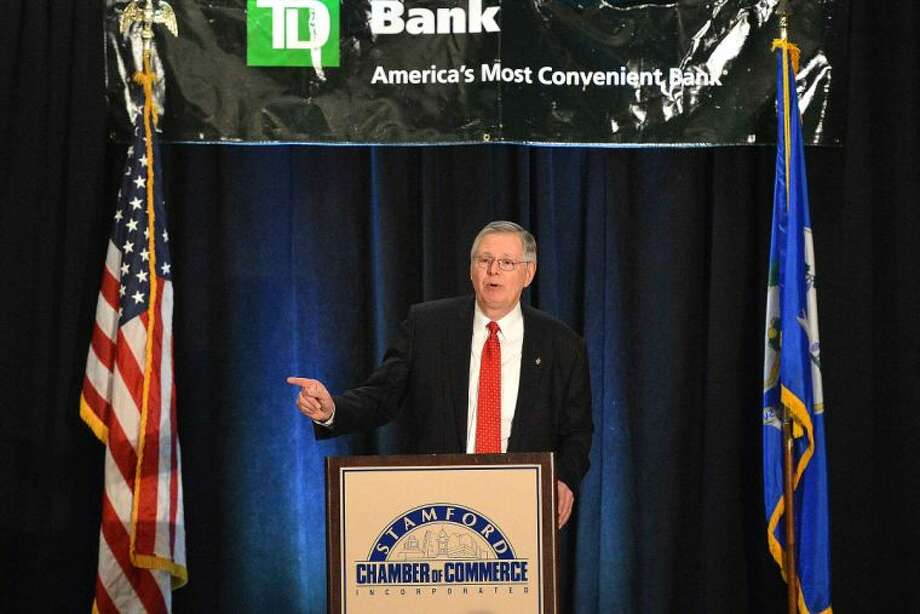Hour Photo/Alex von Kleydorff Mayor David Martin speaks during his State of The City Address to the Stamford Chamber of Commerce at The Stamford Marriott Hotel and Spa on Tuesday