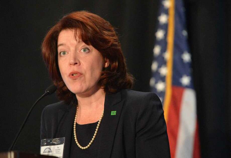 Hour Photo/Alex von Kleydorff Maureen E. Hanley Bellitto, Senior Vice President, Fairfield County Region for TD Bank introduces Mayor David Martin at his State of The City Address to the Stamford Chamber of Commerce at The Stamford Marriott Hotel and Spa on Tuesday
