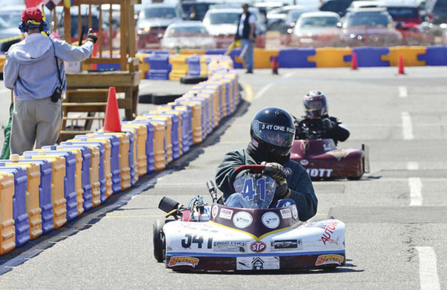 Hour photo / Erik Trautmann The Norwalk Karting Association 4th race of the season Saturday at Calf Pasture Beach.