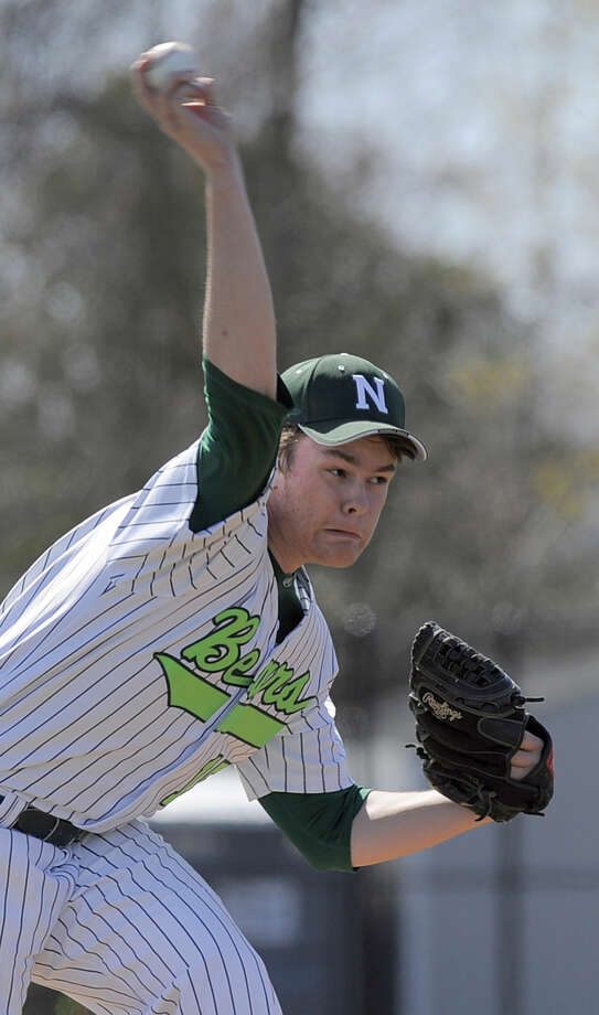 Norwalk reliever Jack Potochney delivers a throw against New Fairfield batter in a FCIAC boys baseball game in Norwalk on April 16, 2016. New Fairfield defeated Norwalk 11-6.