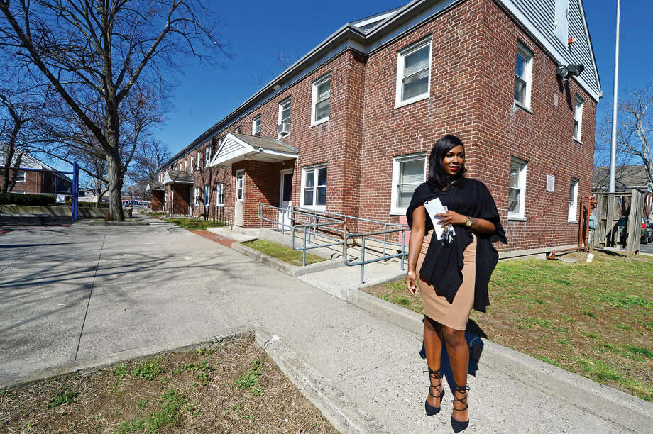 Jessica Davis, a tenant of the oldest public housing project in Connecticut, Washington Village, comments Wednesday, April 20, 2016, on the $110 million reconstruction project which recently survived an appeal. The New Britain Superior Court dismissed the Friends of Ryan Park appeal of The Connecticut Department of Energy and Environmental Protection decision allowing the proposed reconstruction of Washington Village to proceed.