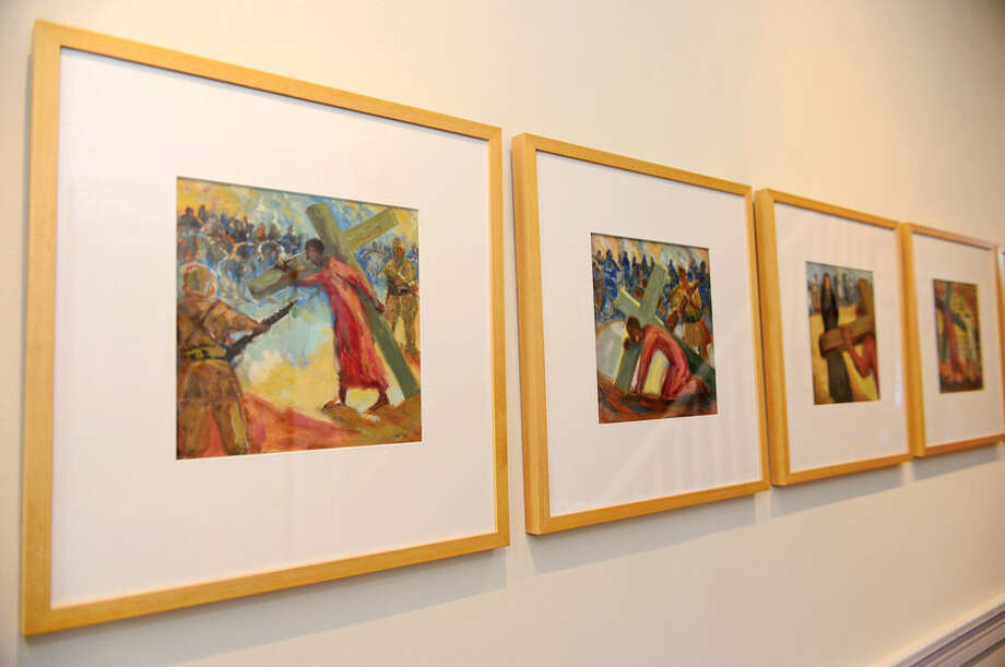Hour photo / Erik Trautmann Stations of the Cross, commissioned work by artist Gwyneth Leech is exhibiting her work at the Gallery on the Green at St. Paul's Church.