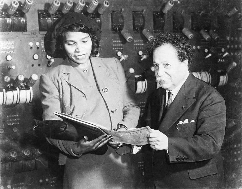Backstage at the opera house: Pierre Monteux meets with contralto Marian Anderson, who made her San Francisco Symphony debut there in March, 1937. The Daughters of the American Revolution would bar her from singing at Washington, D.C.'s Constitution Hall three years later because of her skin color. Prospective run date: concert sub week in February, after Blomstedt, in tandem with black history month.