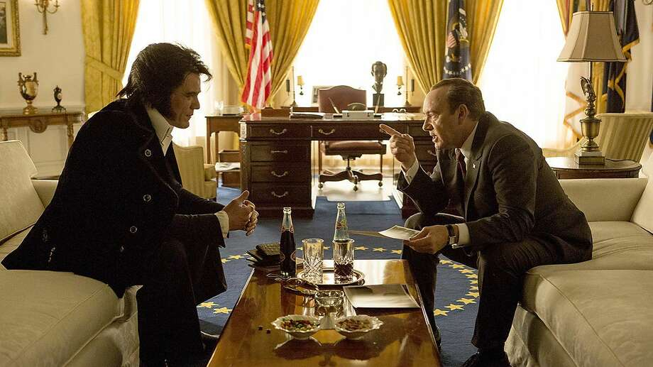 """""""Elvis & Nixon,"""" starring Michael Shannon (left) and Kevin Spacey (right) opensFriday. Check out thetrailer:http://bit.ly/1Wh3Kuz"""