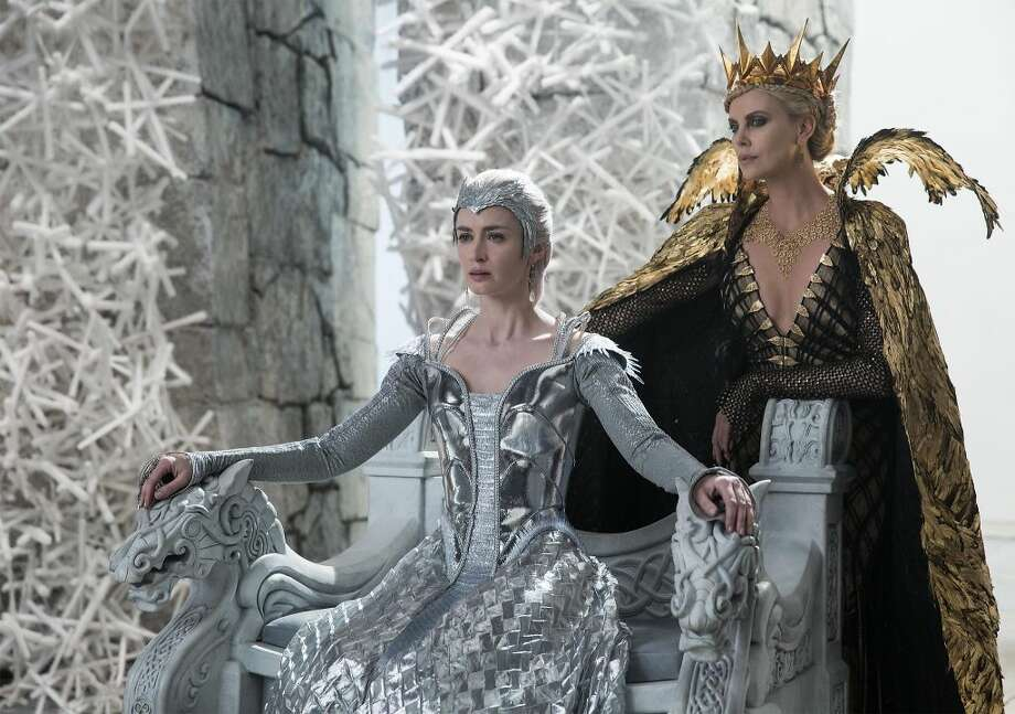 """Huntsman: Winter's War,"" starring Emily Blunt (left) and Charlize Theron (right) opens on Friday. Check out the trailer: http://bit.ly/1U8v9yz"