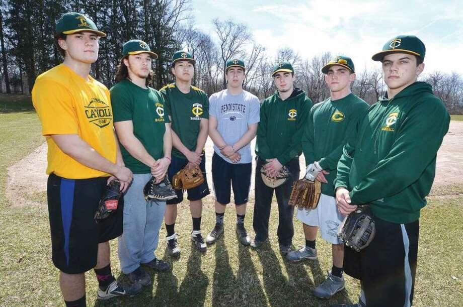 Hour Photo/Alex von Kleydorff Trinity Catholic Baseball, l-r Rob Tusch, Anthony Hoegemann, Cameron Greig, Jackson Solis, Sean Epp, Matt Christensen, Dominic Colarossi