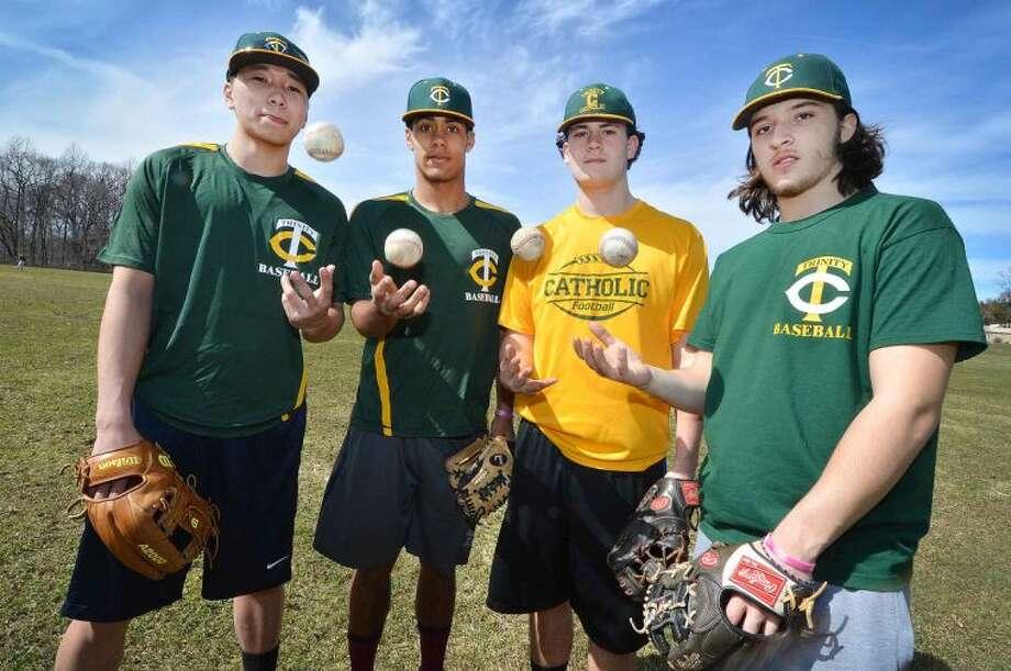 Hour Photo/Alex von Kleydorff. Trinity Catholic baseball l-r Cameron Greig Randy Polonia, Rob Tusch, Anthony Hoegemann