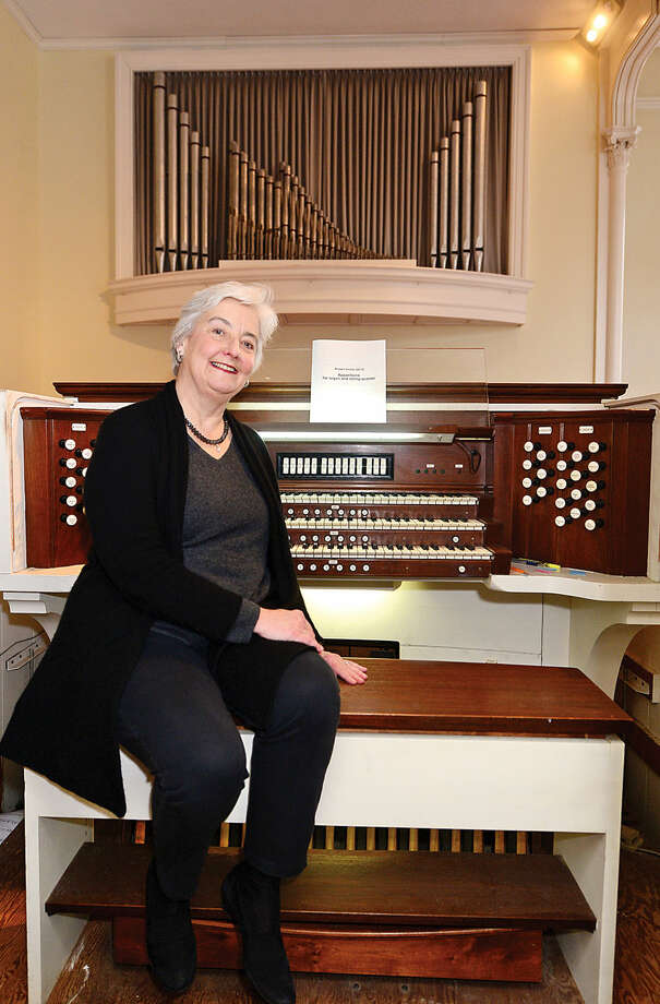 """Hour photo / Erik Trautmann Organist Eileen Hunt and The Congregational Church at Green's Farms will be celebrating the 50th anniversary of their organ, christened Cecilia Rose after the patron saint of music, on May 10 with a special performance by Hunt of composer Robert Sirota's """"Apparitions for Organ and String Quartet."""""""
