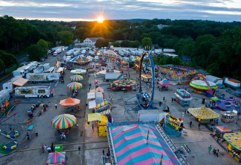 An aerial view of the carnival from the top of the Ferris wheel at the Danbury City Fair. Wednesday, June 29, 2011