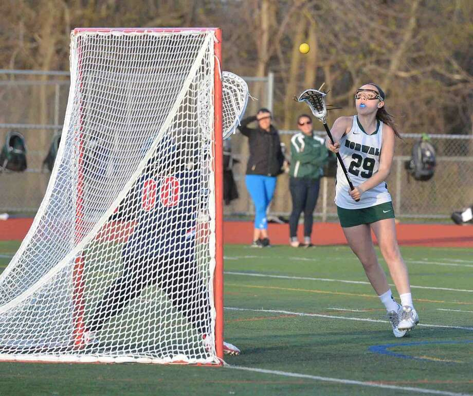 Norwalks #29 Lily L'Archevesque shoots on goal during girls lacrosse action vs Brien McMahon for the Kuchta Cup at Norwalk High School on Tuesday April 19 2016 in Norwalk Conn.