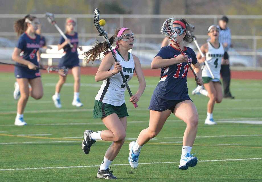 Norwalks #9 Grace Bradley during girls lacrosse action vs Brien McMahon for the Kuchta Cup at Norwalk High School on Tuesday April 19 2016 in Norwalk Conn.