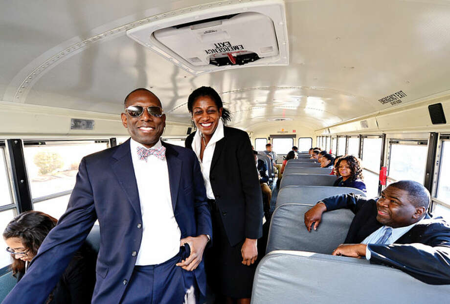 Hour photo / Erik Trautmann Darnell Crossland and Brenda Tyson from The Norwalk Branch of NAACP sponsor a trip for 30 high school students, 10 from each of Norwalk's three high schools, to attend the Great Debate in New Haven between debate students from Yale University and from the historically black Wiley College of Texas.