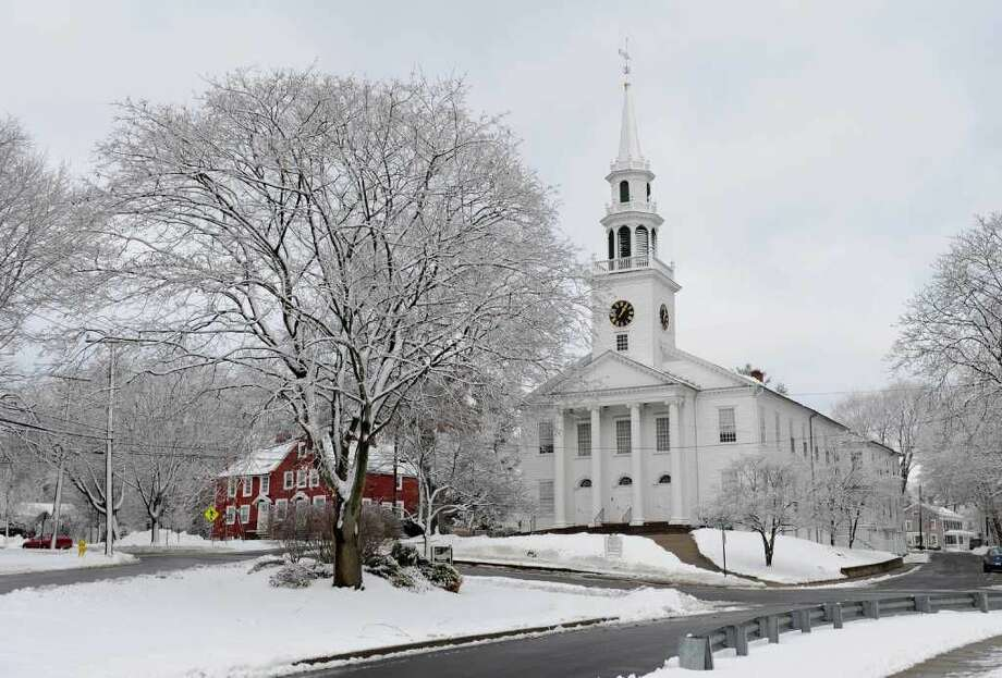 Looking towards First United Church of Christ along West Main Street in downtown Milford, Conn. on Saturday January 8, 2011.