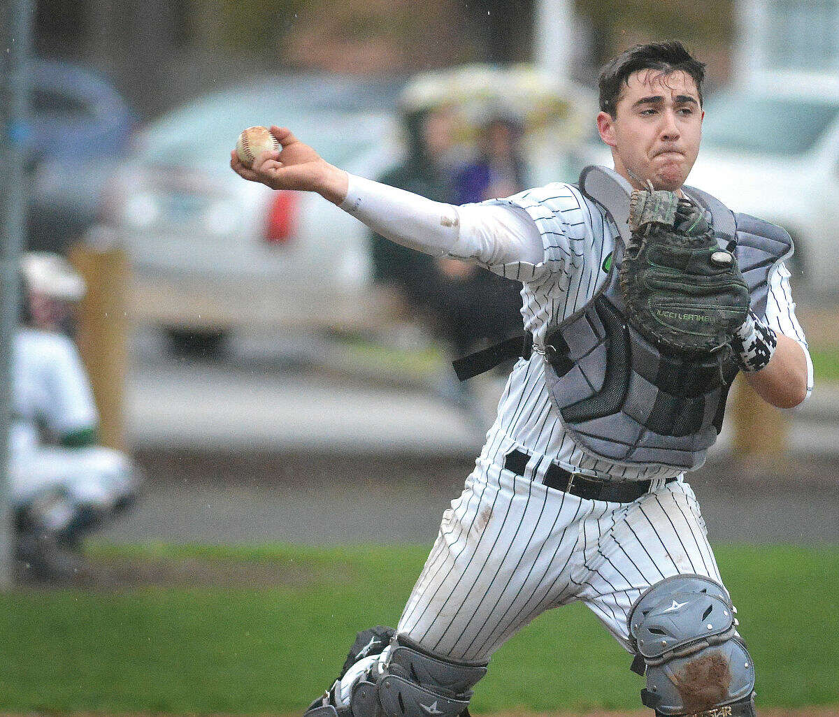 Norwalk's Marco Montiero makes the throw to first for an out on Wednesday against Bridgeport Central. (Alex von Kleydorff/Hour photo)