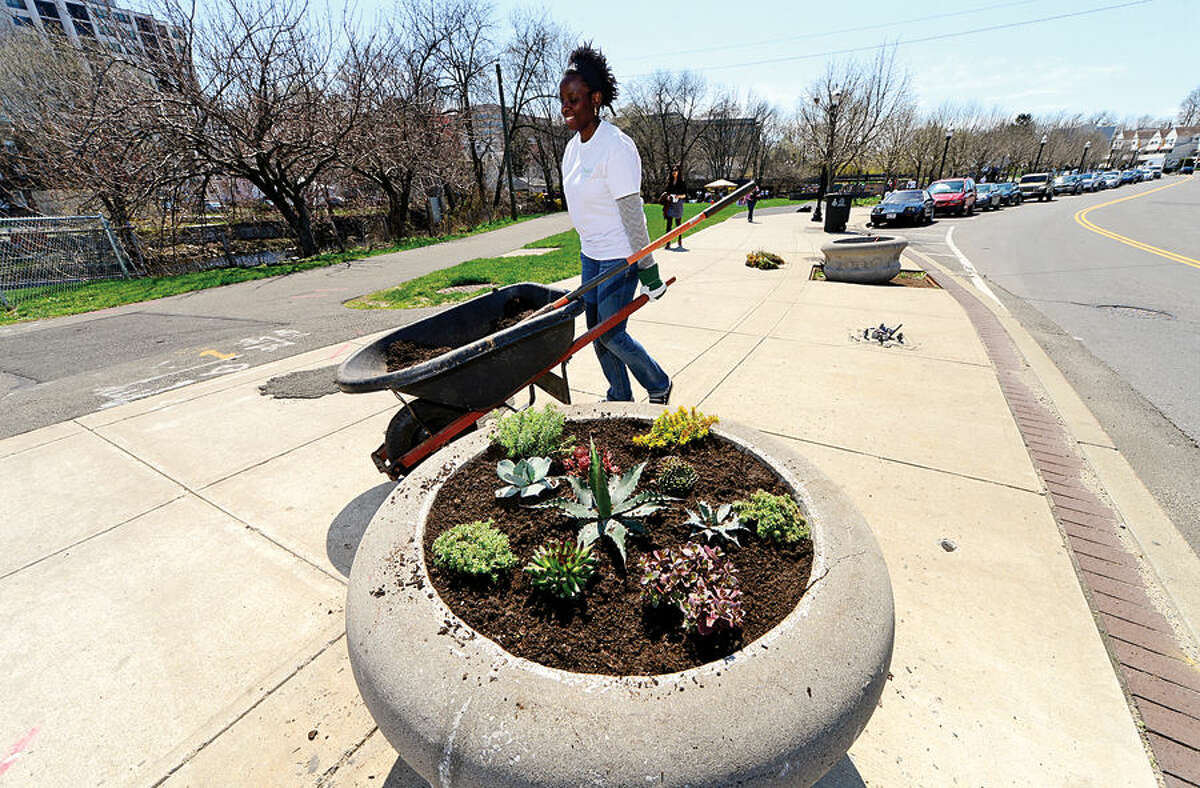 Nearly 100 employees from Diageo North America's finance team including Latoya Mixon clean up Stamford's Mill River Park for one day of concentrated community service.