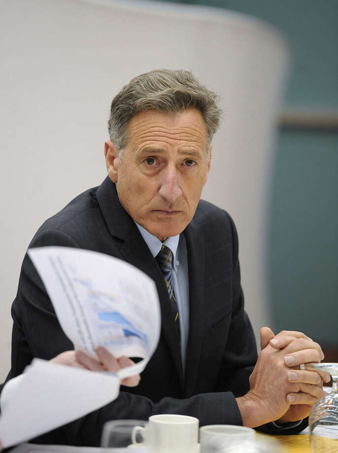 Vermont Gov. Peter Shumlin listens during a private lunch with New England governors, Thursday, April 23, 2015, in Hartford, Conn. New England's governors met Thursday to update their long-term energy strategy that increasingly relies on natural gas and efforts to build more pipelines. (AP Photo/Jessica Hill, Pool)