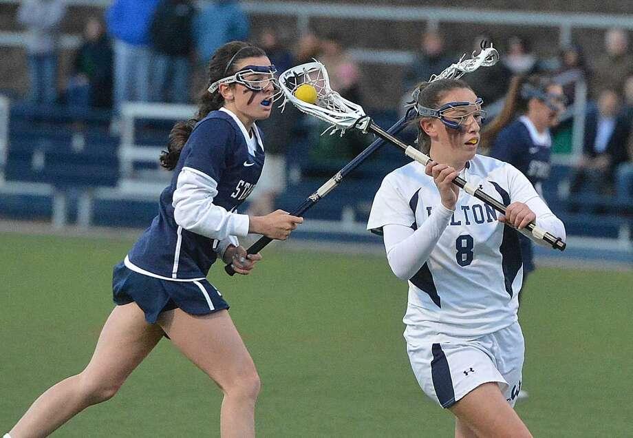 Hour Photo/Alex von Kleydorff Wilton Girls Lacrosse vs Staples