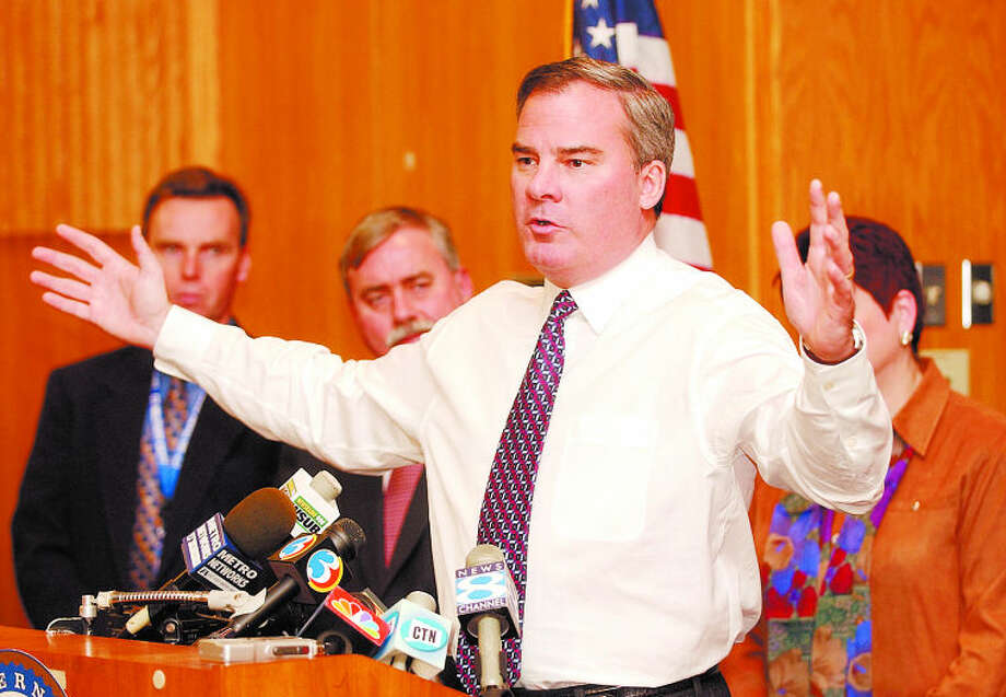 Connecticut Gov. John G. Rowland gestures during a news conference in Waterford, Conn., Monday, Dec. 22, 2003, at the Millstone nuclear power plant complex. Rowland discussed the state's readiness in light of the increase in the alert status declared by the Office of Homeland Security. (AP Photo/Bob Child)