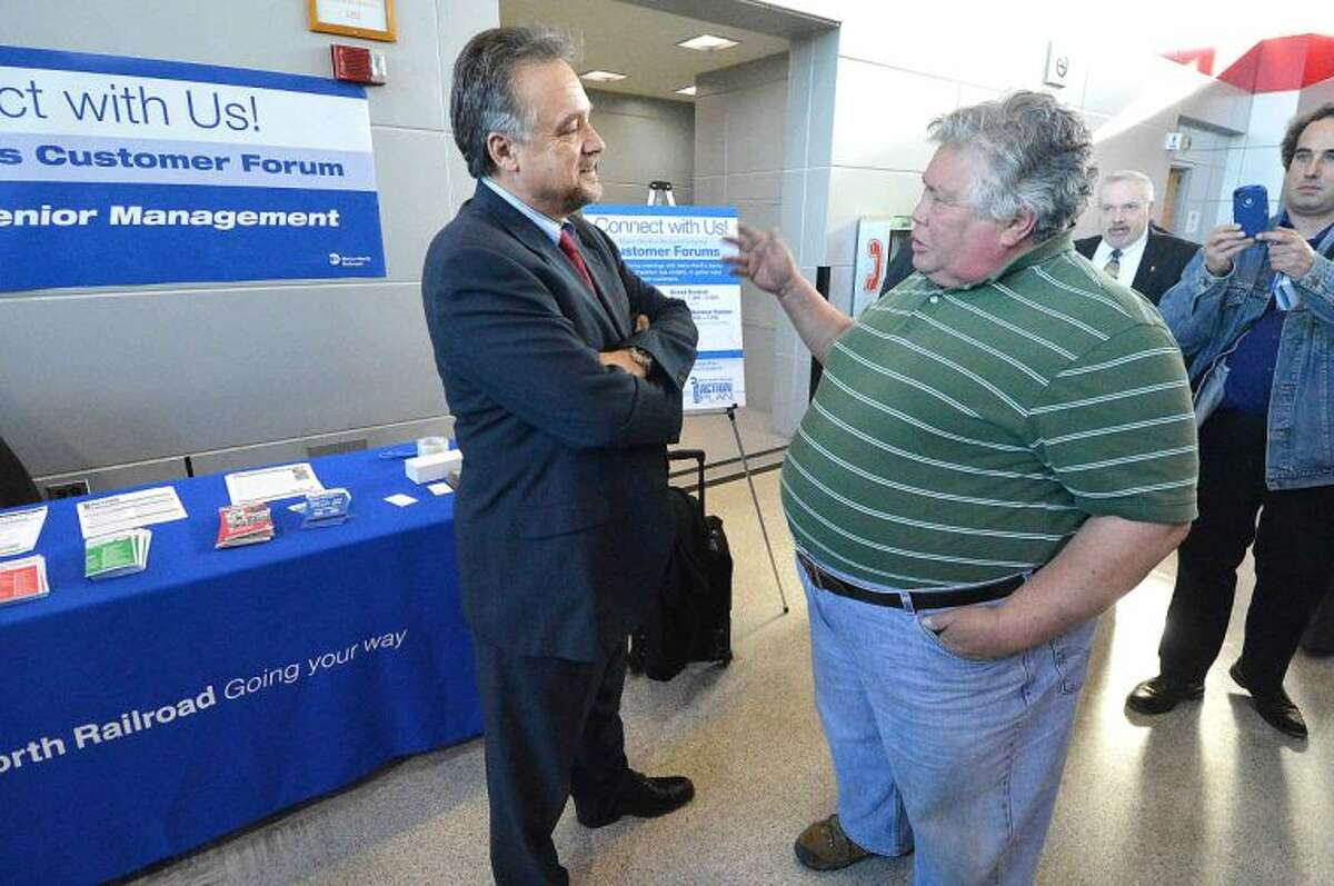 Hour Photo/Alex von Kleydorff Charlie Kestler talks about the Waterbury Line with Metro North President Joe Giulietti during a Connect with Us Customer forum for the public at The Stamford Transportation Center