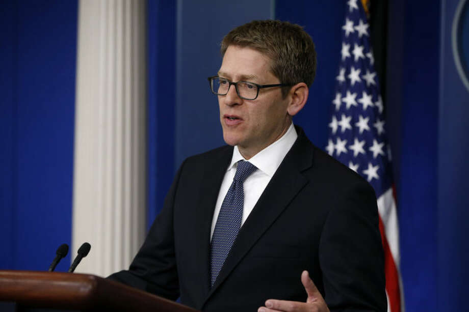 White House press secretary Jay Carney speaks to reporters at the daily press briefing, Friday, April 11, 2014, at the White House in Washington. Carney opened the briefing by taking a question regarding the replacement for outgoing Health and Human Services Secretary Kathleen Sebelius. (AP Photo/Charles Dharapak)