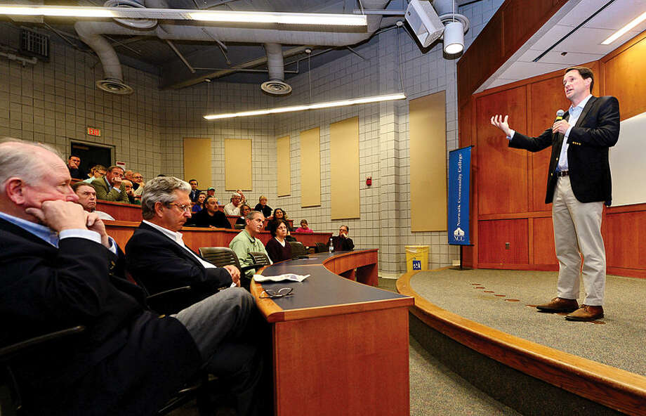 Hour photo / Erik Trautmann US congressman Jim Himes holds a town hall meeting at Norwalk Community College to discuss the negotiations with Iran over their nuclear program.