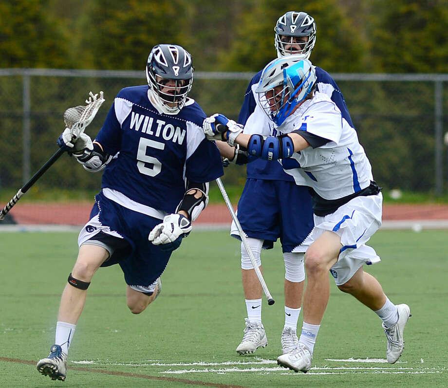 Wilton High School's Boys Lacrosse Game against Darien on Saturday, April 22, 2016, at Darien High School in Darien, Conn.