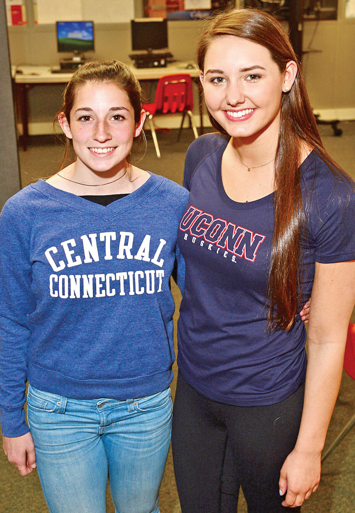 Norwalk's Sabrina Kruy, left, is going to play girls soccer at Central Connecticut State University and Katie Wargo is going to swim at UConn next season. (Hour photo/Erik Trautmann)