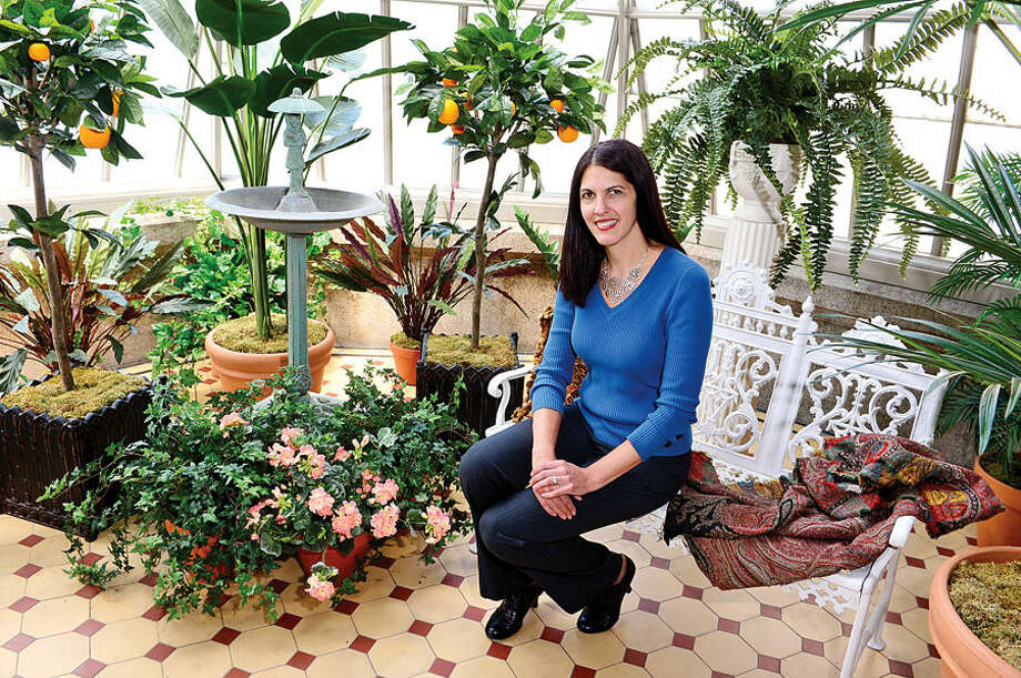 Hour photo / Erik Trautmann Patricia Phillipon in the Lockwood Mathews Mansion Museum's conservatory where she wil present, Welcome to the Jungle: Horticulture and Hi-jinks in the Clemen's Conservatory, Sunday.